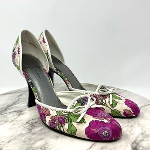 Linea Paolo floral d'Orsay pumps 7 magenta/white